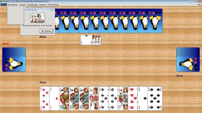"""Mahjong, Solitär & Co.: Beliebte Spieleklassiker als kostenloser Download Vor dem nächsten Spieleabend mit Freunden üben Sie mit """"FreeDoko"""" bereits ein paar Doppelkopf-Partien.©Diether Knof & Borg Enders"""