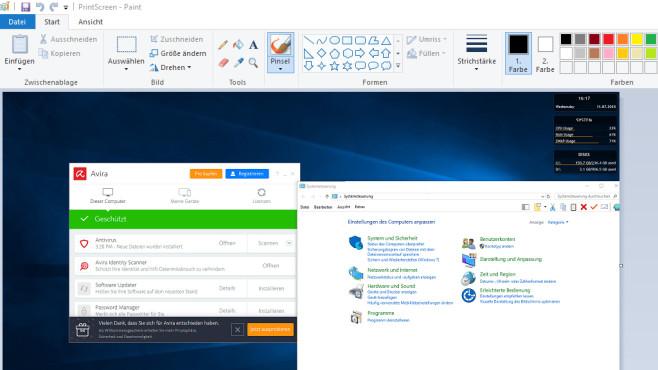 Windows 7/8/10: Eigenes Screenshot-Tool programmieren Im MS-Paint-Rampenlicht: Avira Free Antivirus und die Systemsteuerung.©COMPUTER BILD