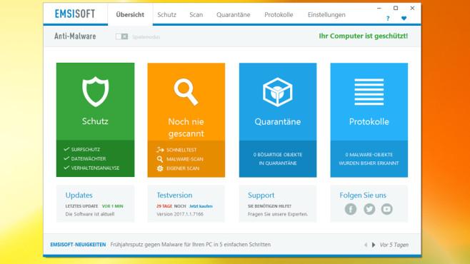 Emsisoft Anti-Malware: Sicherheitslösung mit zwei Wächtern ©COMPUTER BILD