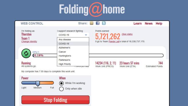Folding@home: Rechenkraft spenden ©COMPUTER BILD