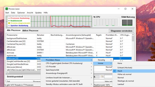 Process Lasso: Anwendungen volle Leistung zugestehen ©COMPUTER BILD