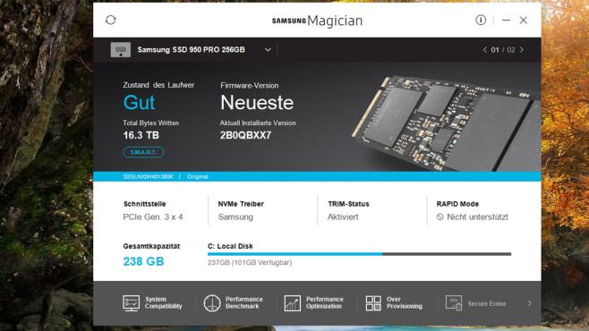 Samsung SSD Magician Tool: Flash-Laufwerk warten ©COMPUTER BILD