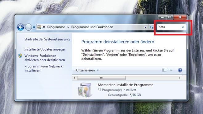 Beta-Anwendungen deinstallieren ©COMPUTER BILD