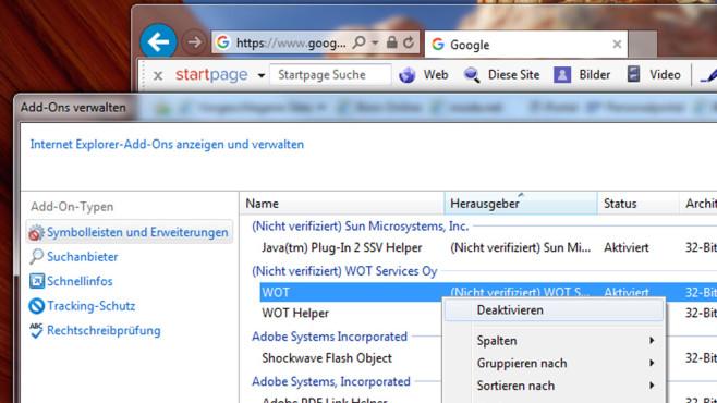 Browser-Add-ons im IE deaktivieren ©COMPUTER BILD
