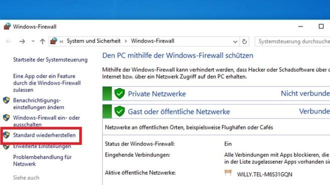 Firewall zurücksetzen ©COMPUTER BILD