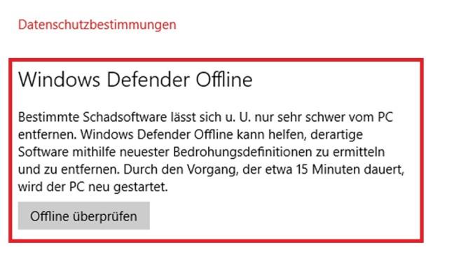 Windows Defender: Offline-Scan gebrauchen ©COMPUTER BILD