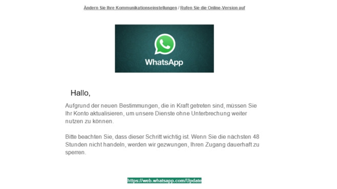 WhatsApp: Betrugsmail © Mimikama.at