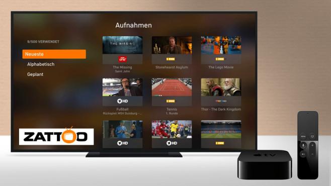 Aus zwei mach eins: Zattoo mit neuer App für Apple TV Zattoo hat die App für den Apple TV verbessert.©Zattoo, Apple