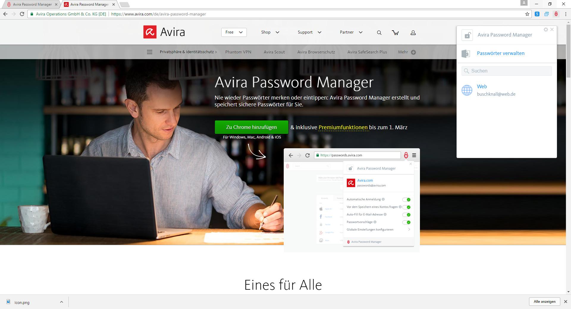 Screenshot 1 - Avira Password Manager für Chrome