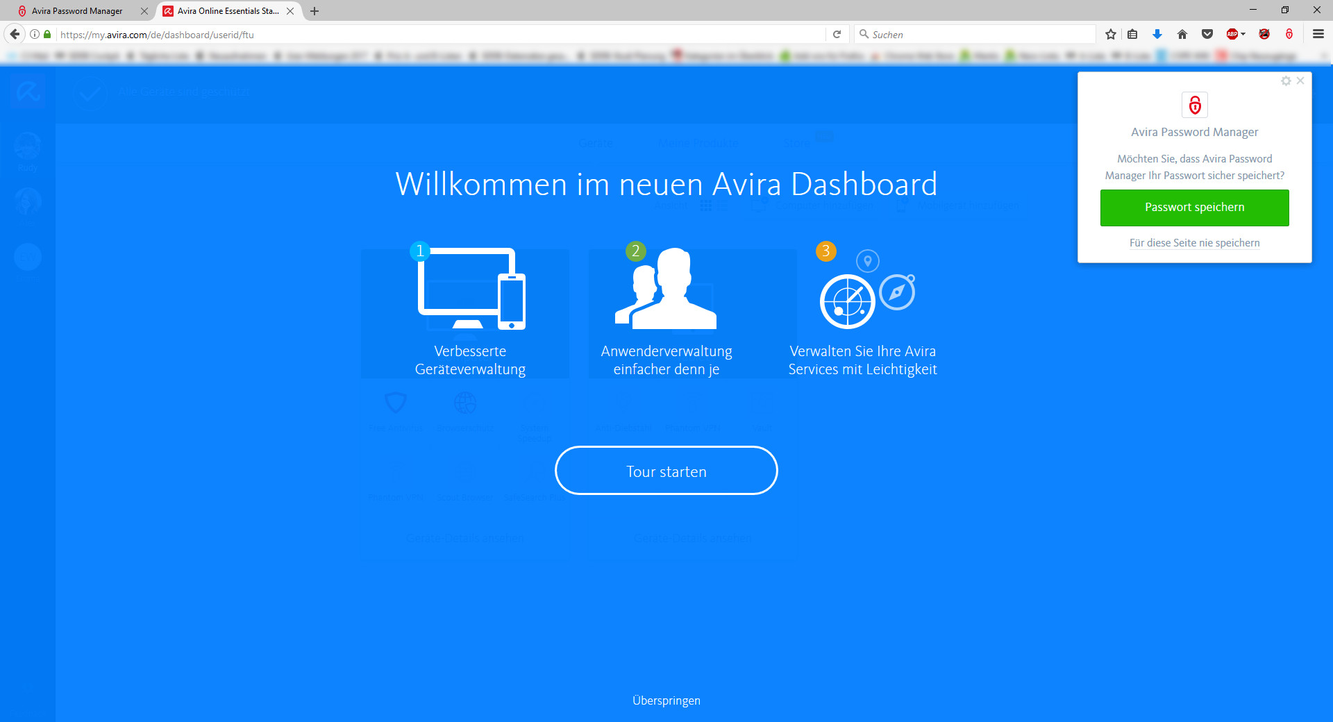 Screenshot 1 - Avira Password Manager für Firefox