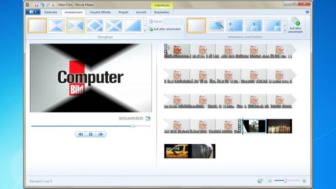 Platz 39: Windows Movie Maker (neu) ©COMPUTER BILD