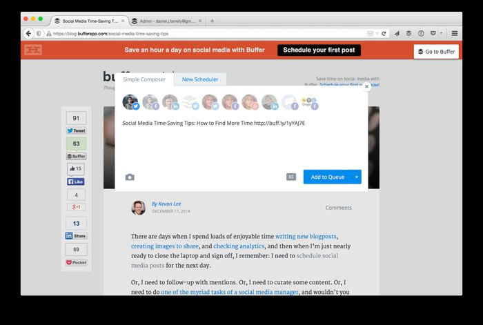 Screenshot 1 - Buffer für Firefox