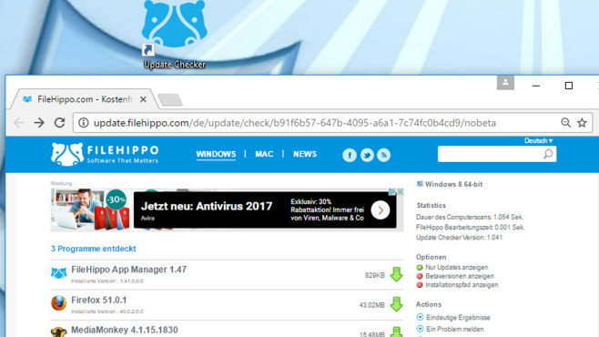 Nilpferd: Filehippo Update Checker © COMPUTER BILD