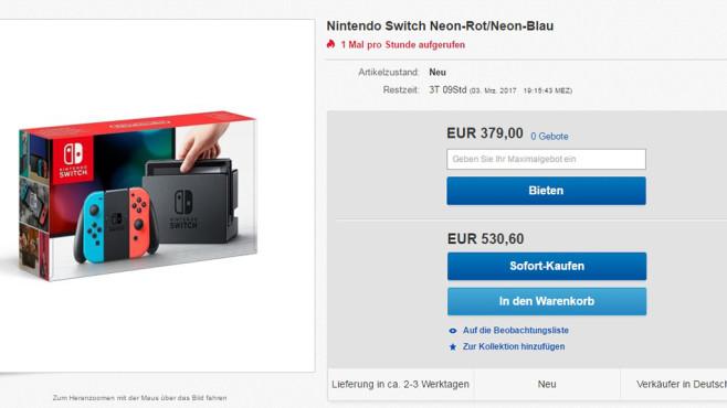 Enorme Preise für Nintendo Switch©Screenshot: Ebay