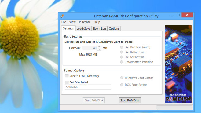 Programmfenster des Dataram RAMDisk Configuration Utility©COMPUTER BILD