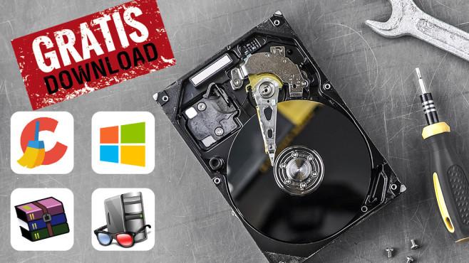 Festplatten-Tools©Piriform, WinRAR, Microsoft istock.com/KalachevsStockStudio