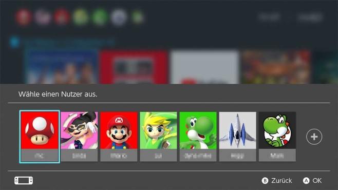 Nintendo Switch: Nutzerauswahl©Nintendo, COMPUTER BILD SPIELE