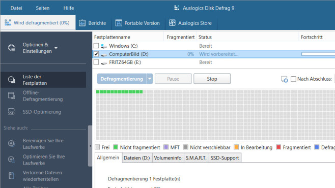 Auslogics Disk Defrag: Platte optimieren ©COMPUTER BILD