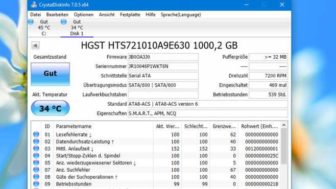 CrystalDiskInfo: Wichtige Informationen einholen©COMPUTER BILD