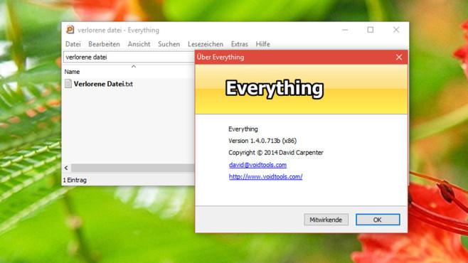 Everything: Verschollene Dateien aufstöbern ©COMPUTER BILD