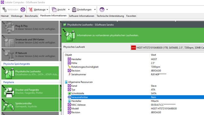 SiSoft Sandra Lite 2021: PC-Komponenten analysieren ©COMPUTER BILD