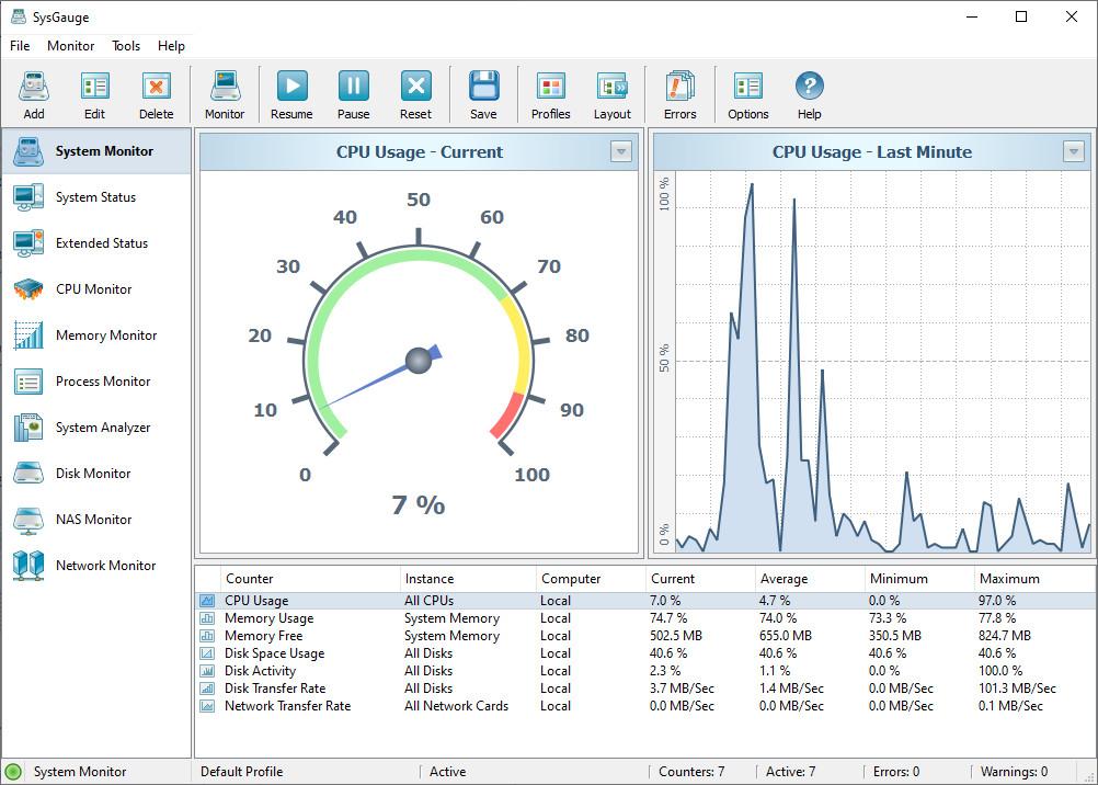 Screenshot 1 - SysGauge