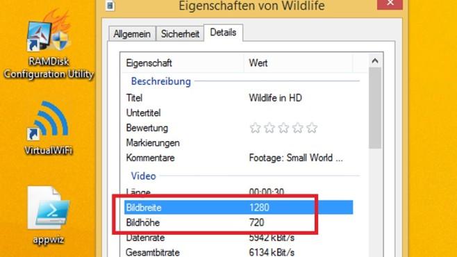Datei-Eigenschaften: Bild-/Videoauflösung auslesen ©COMPUTER BILD