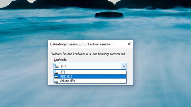 Datenträgerbereinigung: Laufwerkwahl ©COMPUTER BILD