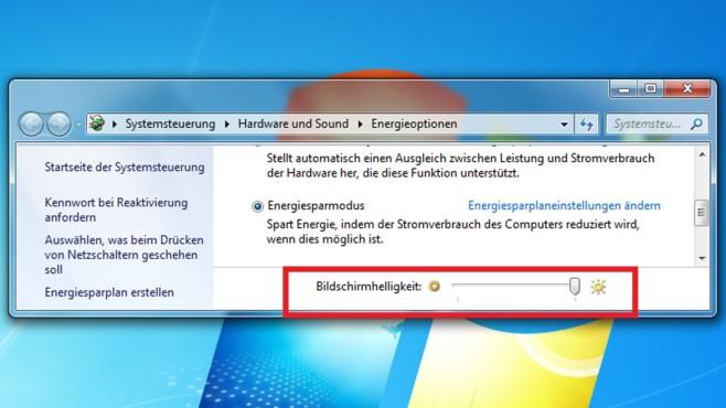 Energieoptionen: Bildschirmhelligkeit-Regler ©COMPUTER BILD