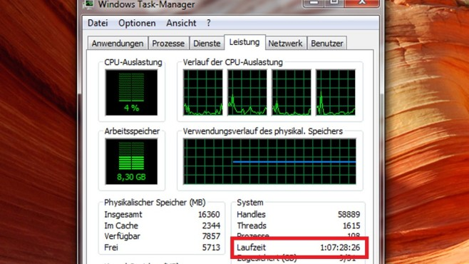 Task-Manager: Wie lange läuft Windows? © COMPUTER BILD