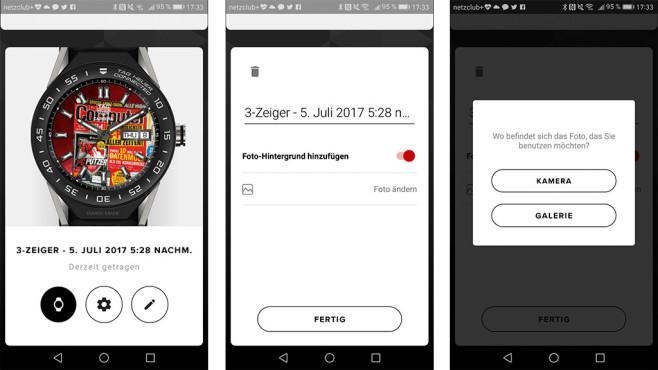 TAG Heuer Connected Modular 45: Smartwatch im Test In der TAG Heuer App können Android-Nutzer Fotos als Uhrenhintergrund einstellen. Dazu muss man zuerst ein Zifferblatt erstellen und danach per Tipp auf das Einstell-Symbol ein Foto hinzufügen.©Screenshot TAG Heuer