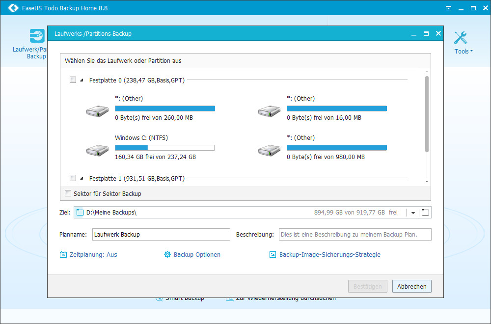 Screenshot 1 - EaseUS Todo Backup Home 8 – Kostenlose Vollversion