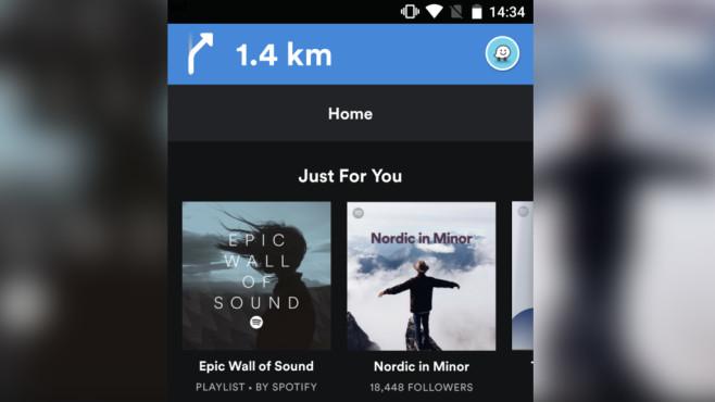 Spotify mit Waze-Anweisungen©Spotify, Waze