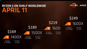 AMD Ryzen 5 1600X, 1600, 1500X, 1400X©AMD