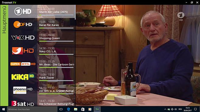 Der Freenet USB-Stick für DVB-T2 ist eine Katastrophe Bewegt der Zuschauer die Maus zur linken Bildschirmkante, zeigt die Freenet-TV-Software die Programmliste.©COMPUTERBILD