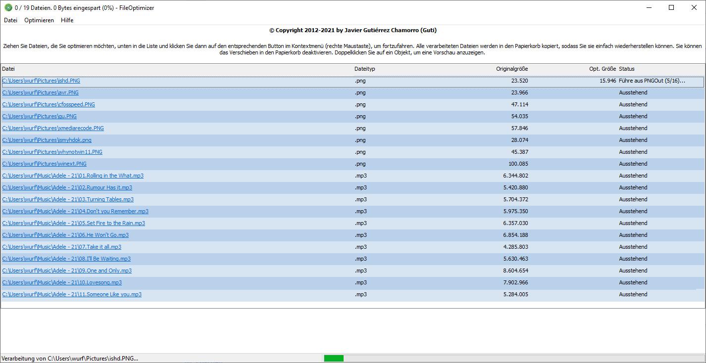 Screenshot 1 - FileOptimizer