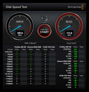 Blackmagic Disk Speed Test (Mac)