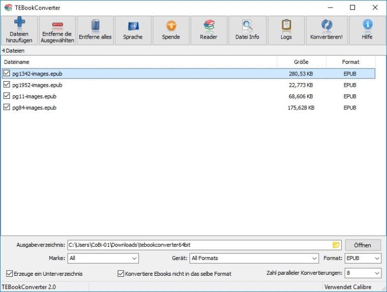 Screenshot 1 - TEBookConverter Portable