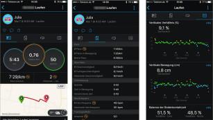 Garmin Forerunner 935: Triathlon-Sportuhr im Test Nach dem Lauf schlüsselt die App das Training auf. Noch detailliertere Daten wie die Bodenkontaktzeit liefert der Running Pod (rechter Screenshot).©Screenshot Garmin Connect App