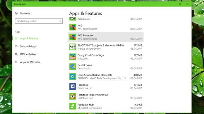 Neu: Apps und Features (App) ©COMPUTER BILD