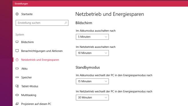 Neu: Energieoptionen (App) ©COMPUTER BILD