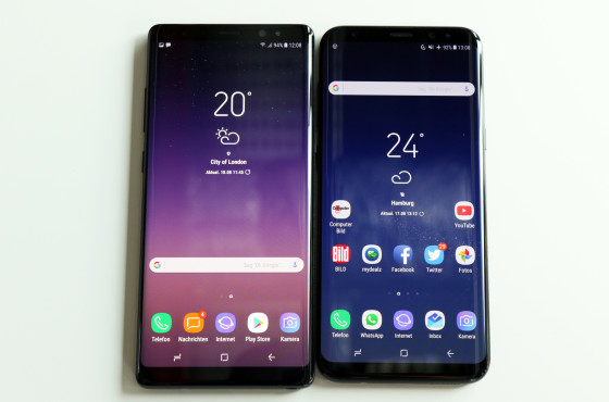 Galaxy Note 8 vs. Galaxy S8 Plus © Computerbild