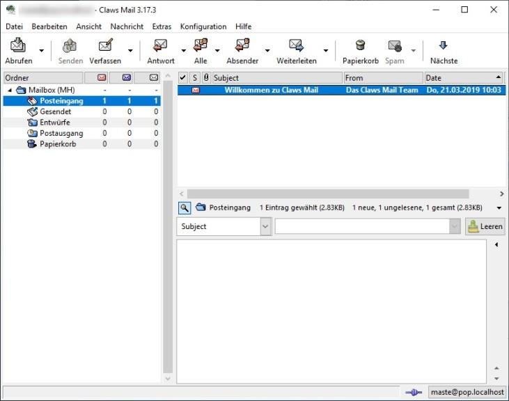 Screenshot 1 - Claws Mail