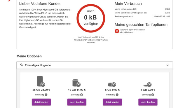 Gigacube: Datenvolumen zum Nachbuchen©Screenshot: COMPUTER BILD