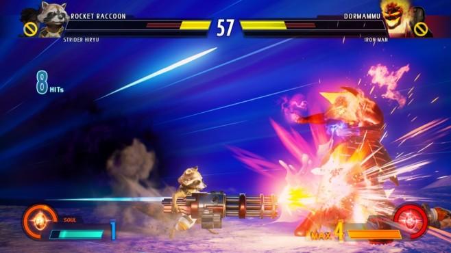 Marvel vs. Capcom – Infinite: Kunterbunte Keilerei! Klein aber oho! Auch Rocket Raccoon hat spektakuläre Moves drauf.©Capcom