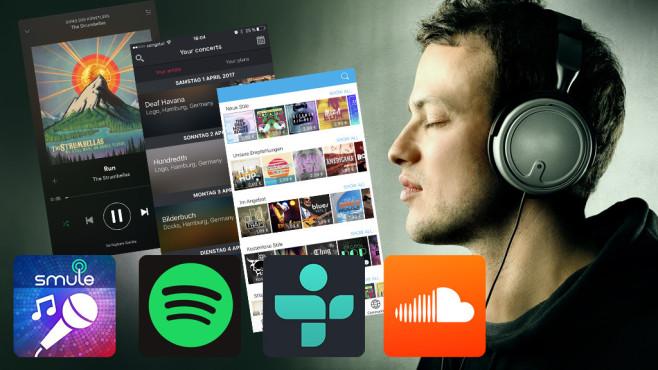 Die besten Apps für Musik-Geniesser©Soundcloud, Smule, Songkickconcert, Spotify, olly – Fotolia.com