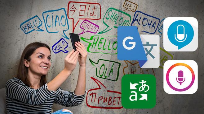Dolmetscher-Apps©istock.com/Warchi, Microsoft, Google, TalirApps, Apalon Apps
