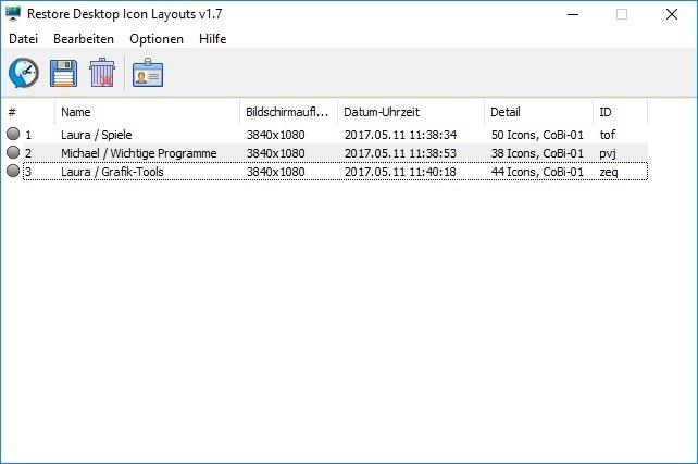Screenshot 1 - ReIcon (Restore Desktop Icon Layouts)