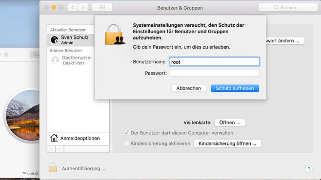 macOS High Sierra: Schwere Sicherheitslücke in Apple-Software! Peinliche Sicherheitslücke: Bei macOS High Sierra lässt sich der Computer ohne Passwort über den Root-Benutzer übernehmen. Das Ganze klappt allerdings nicht auf jedem Mac.©COMPUTER BILD