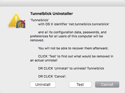 Screenshot 1 - Tunnelblick Uninstaller (Mac)